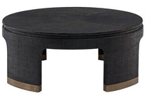 Load image into Gallery viewer, Black and Antique Satin Gold Raffia, Wood and Metal Cocktail Table