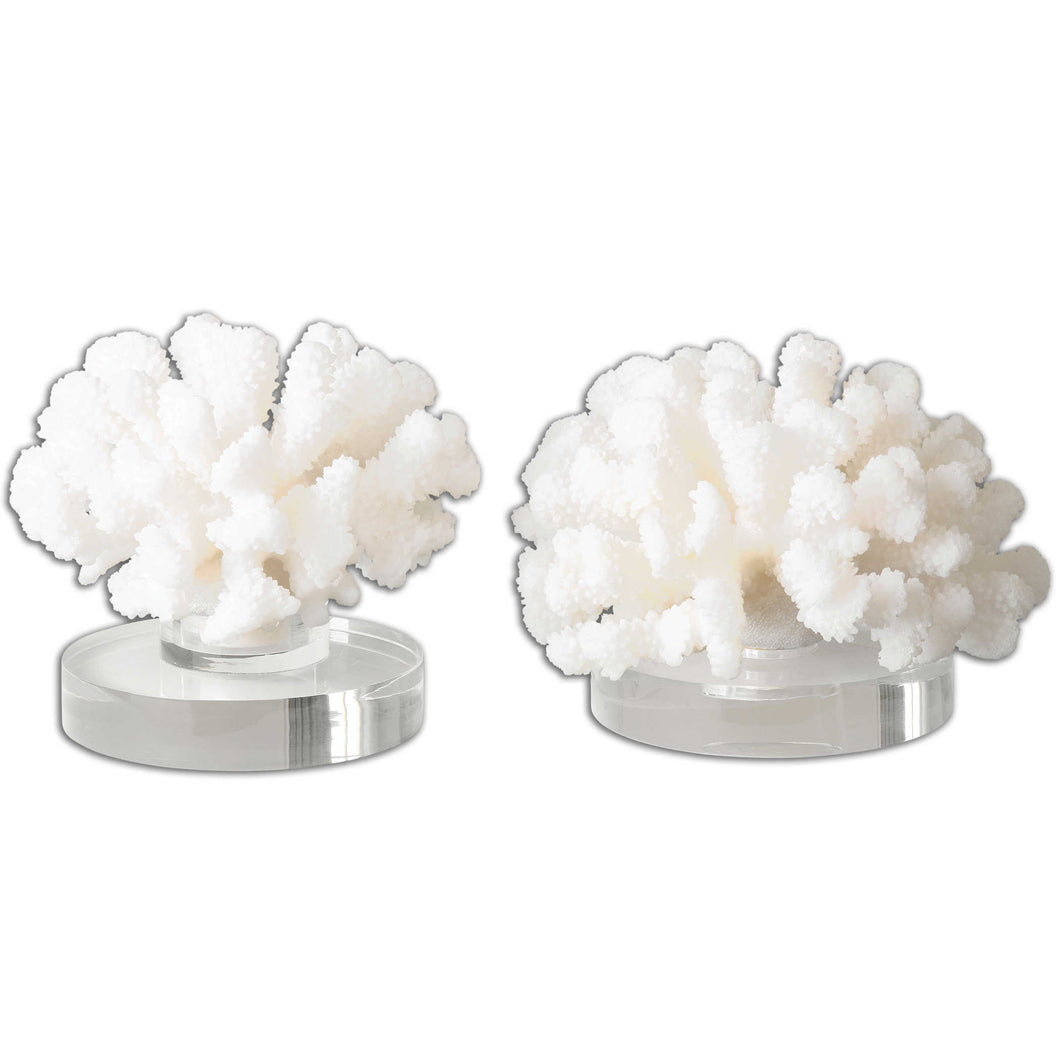 White Coral Sculpture Set of 2 on Lucite Base