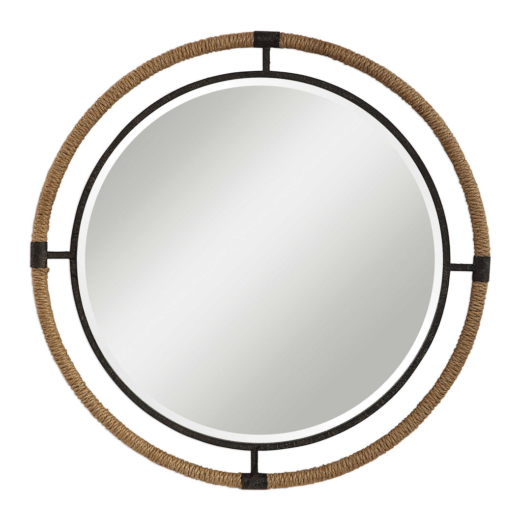Round Black Iron Mirror Wrapped in Natural Rope