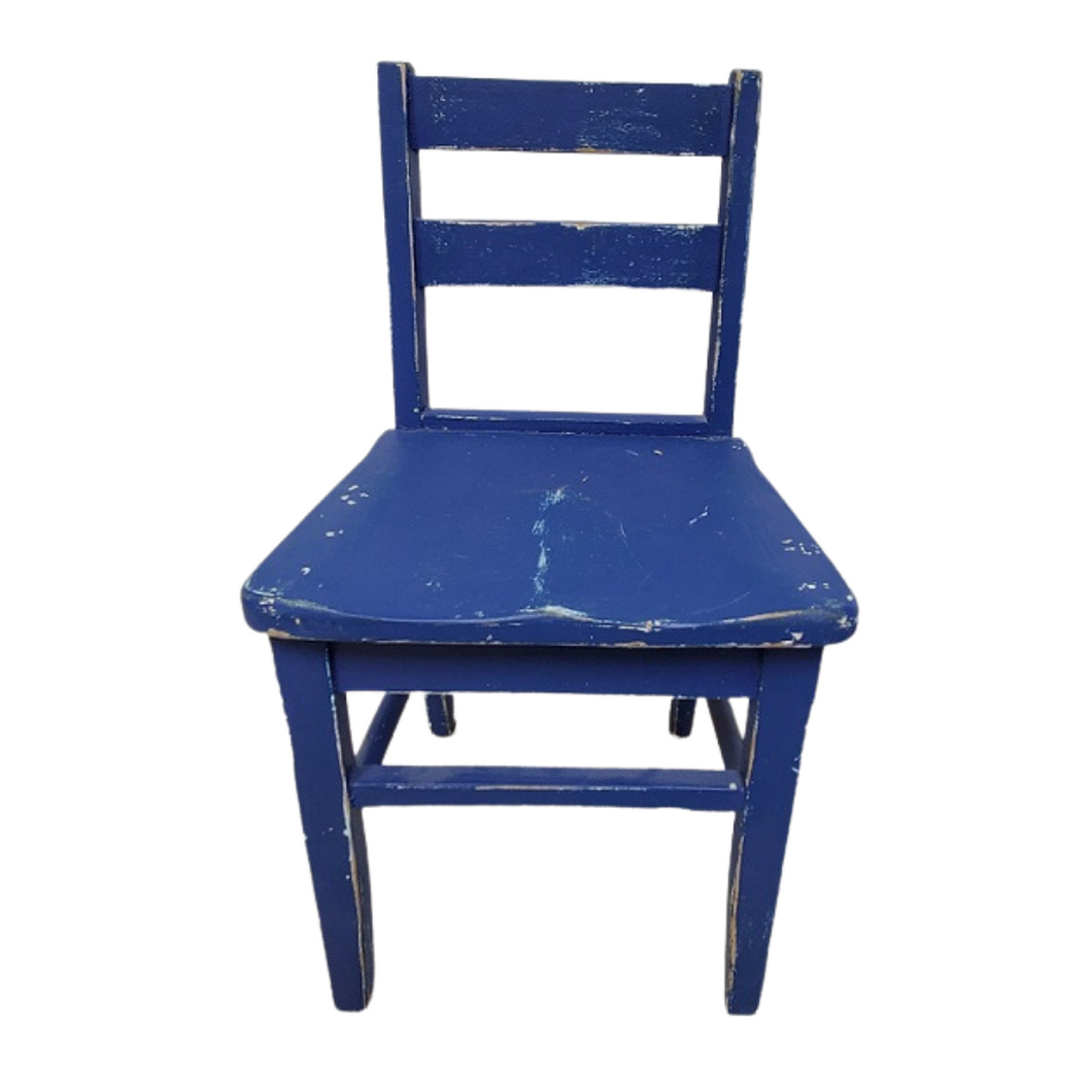 Vintage Blue Wooden Child's Chair
