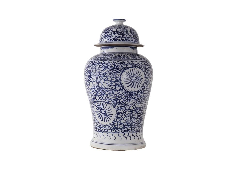 BLUE AND WHITE SUN GROTTO TEMPLE JAR