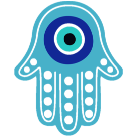 An Evil Eye in the middle of a Hamsa Hand