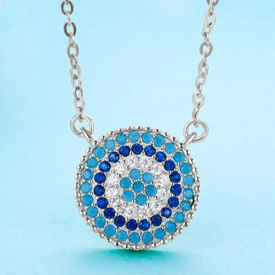 Circular Mosaic-style Evil Eye Silver Necklace