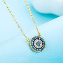 Load image into Gallery viewer, Circular Mosaic-style Evil Eye Silver Necklace