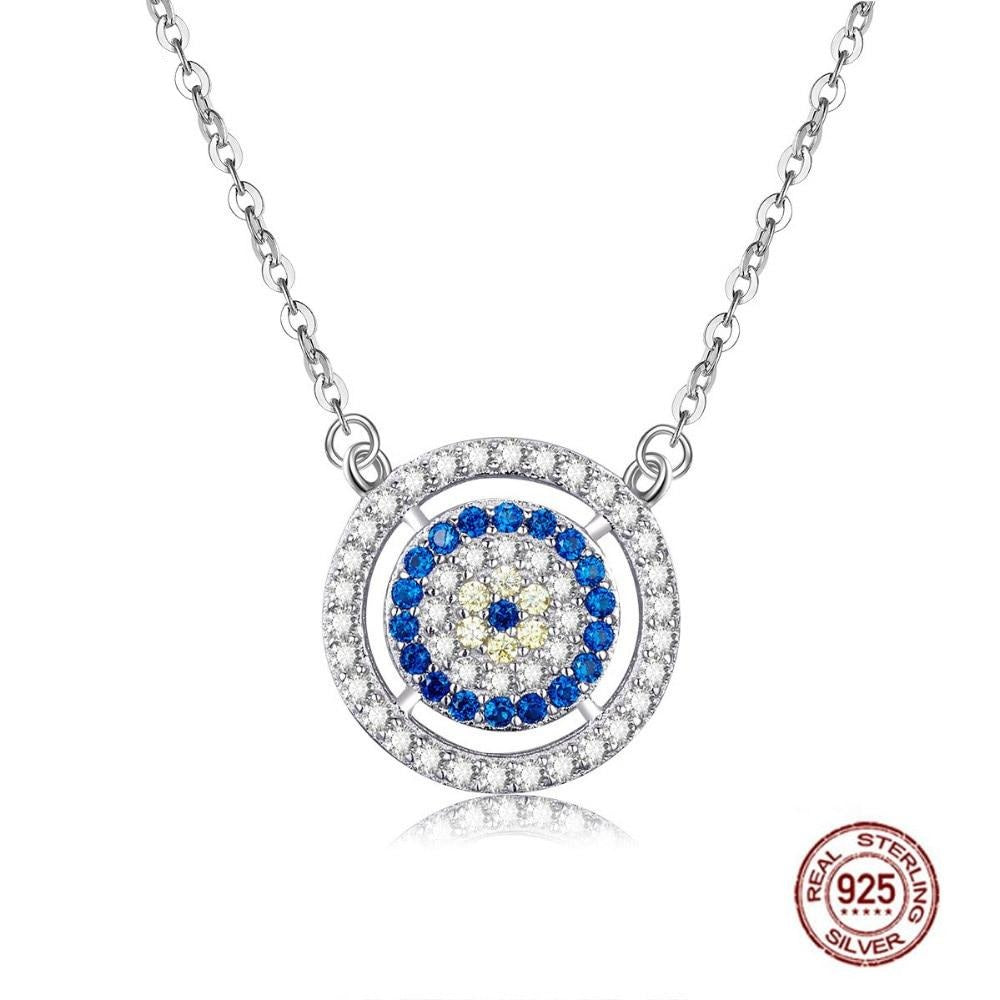White and Blue Stone Studded Evil Eye Silver Necklaces