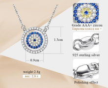 Load image into Gallery viewer, White and Blue Stone Studded Evil Eye Silver Necklaces