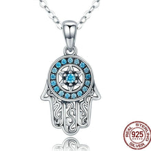 Load image into Gallery viewer, Blue Stone Studded Hamsa Hand Evil Eye Silver Necklace