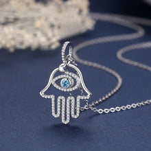 Load image into Gallery viewer, Blue Stone Evil Eye in Hamsa Hand Silver Pendant and Necklace