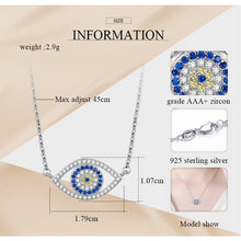 Load image into Gallery viewer, White and Blue Stone Eye-Shaped Evil Eye Silver Necklaces