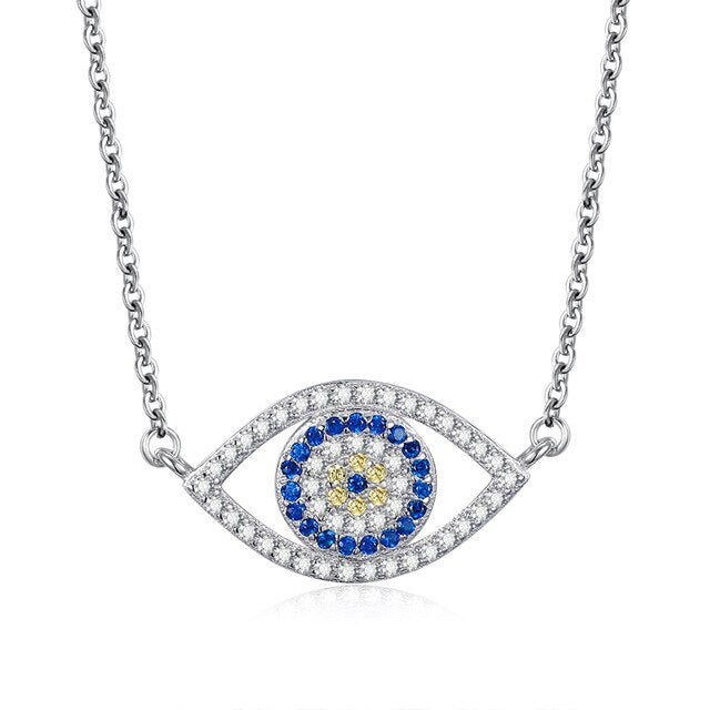 White and Blue Stone Eye-Shaped Evil Eye Silver Necklaces