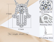 Load image into Gallery viewer, White Stone Studded Hamsa Hand Evil Eye Silver Necklace