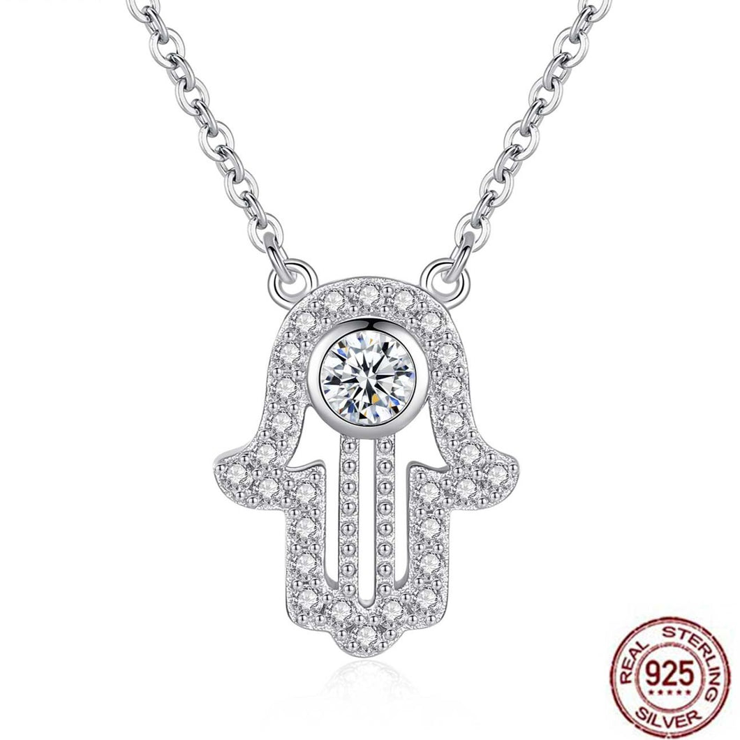 White Stone Studded Hamsa Hand Evil Eye Silver Necklace