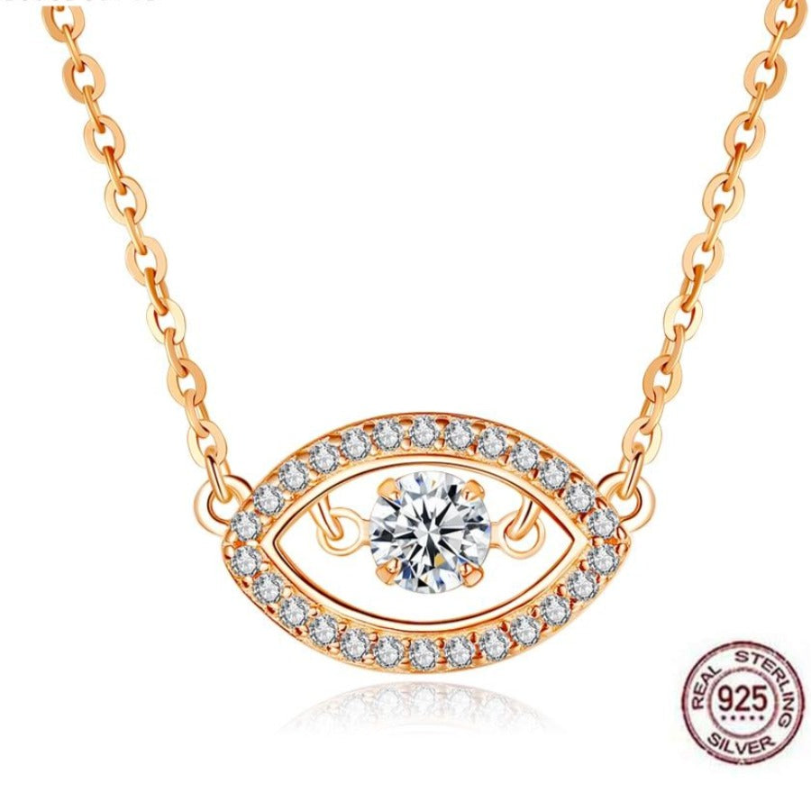 White Stone Studded Rose Gold Colored Evil Eye Silver Necklace