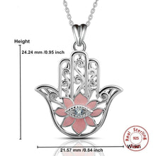 Load image into Gallery viewer, Pink Enamel Lotus Flower with Evil Eye Hamsa Hand Silver Pendant and Necklace