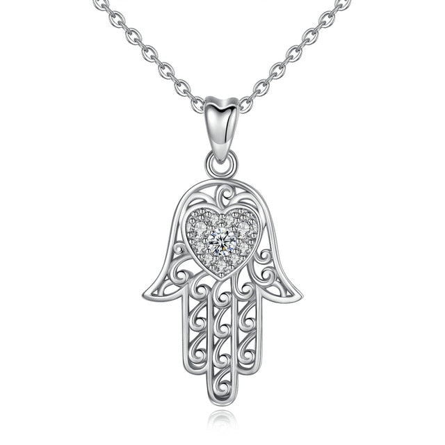 White Heart Stone Hamsa Hand Silver Pendant and Necklace