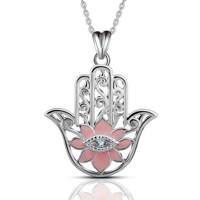 Pink Enamel Lotus Flower with Evil Eye Hamsa Hand Silver Pendant and Necklace