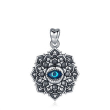 Load image into Gallery viewer, Lotus Flower with Evil Eye Silver Pendant and Necklace