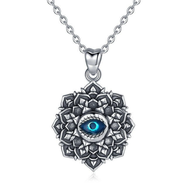 Lotus Flower with Evil Eye Silver Pendant and Necklace