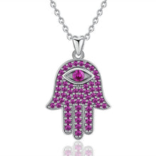 Load image into Gallery viewer, Purple Stone Hamsa Hand Evil Eye Silver Pendant and Necklace