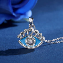 Load image into Gallery viewer, Blue Enamel and White Stone Evil Eye Silver Pendant and Necklace