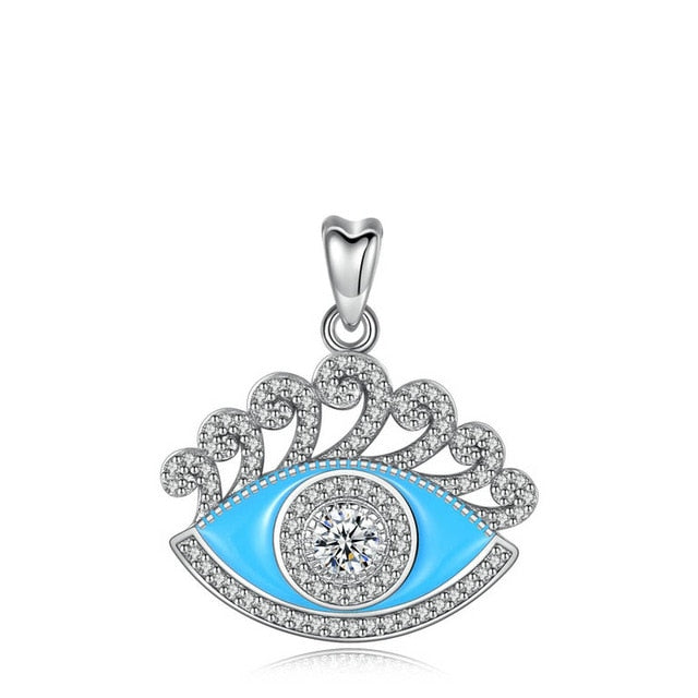 Blue Enamel and White Stone Evil Eye Silver Pendant and Necklace