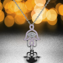 Load image into Gallery viewer, Pink Stone Hamsa Hand Silver Pendant and Necklace