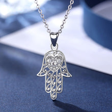 Load image into Gallery viewer, White Heart Stone Hamsa Hand Silver Pendant and Necklace