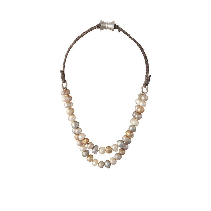 BOMBAY NECKLACE (MULTI ON GRAY)