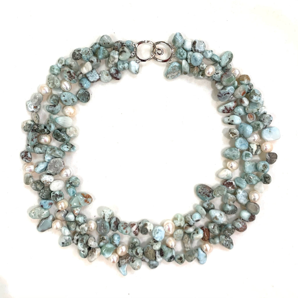 LARIMAR & WILD PEARL TRIPLE STRAND NECKLACE