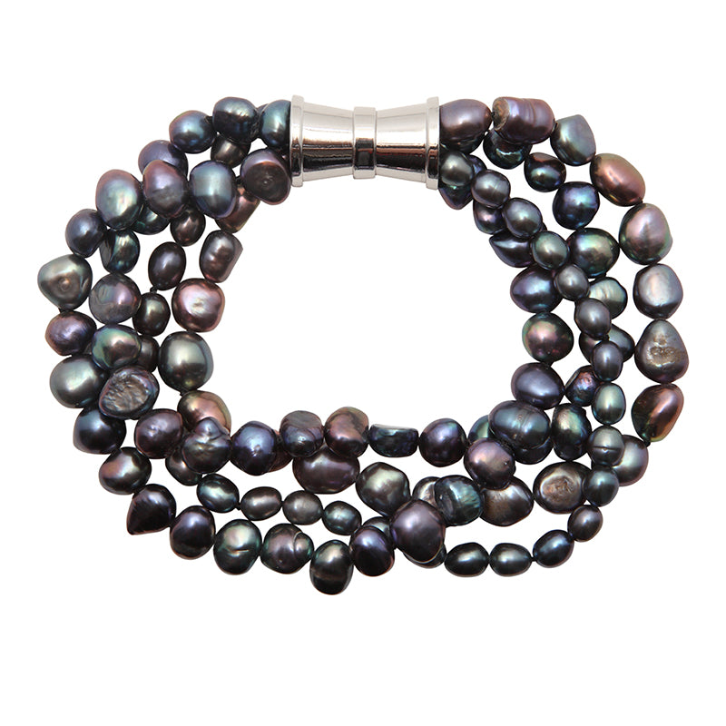 BLACK 4-STRAND BAROQUE MIX PEARL BRACELET