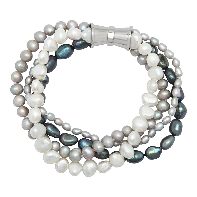 DARK MIX 4-STRAND BAROQUE MIX PEARL BRACELET