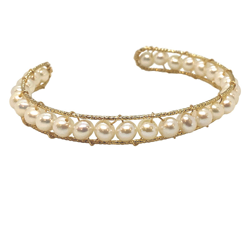 ROUND PEARL CUFF ON GOLD