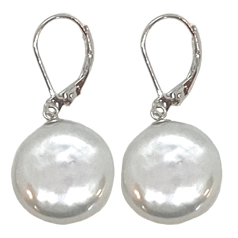 COIN PEARL DANGLE EARRING (WHITE ON SILVER)