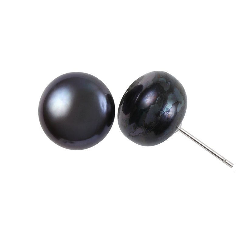 10MM BLACK FRESHWATER STUD EARRING