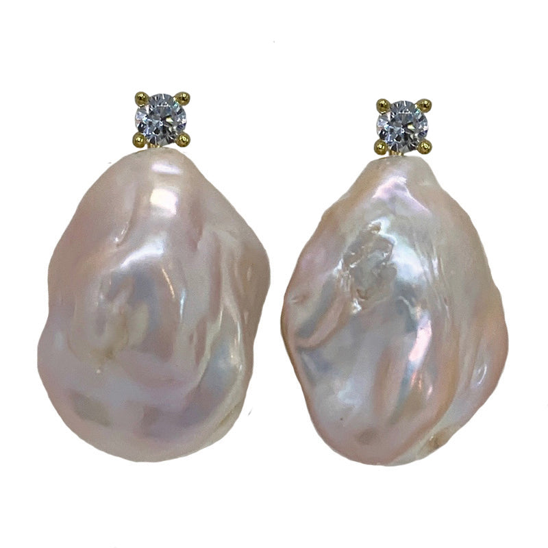 STONE PEARL/ CZ EARRING (PINK ON GOLD)