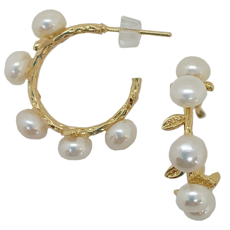 SMALL PEARL HOOPS ON GOLD