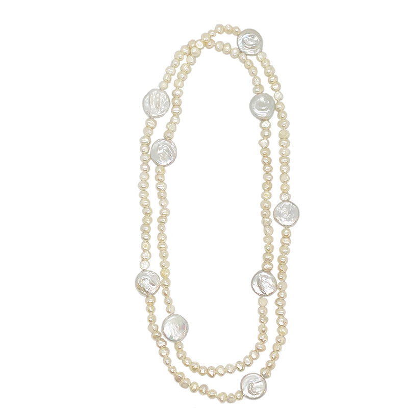 GRADUATED ROUND & COIN PEARL NECKLACE