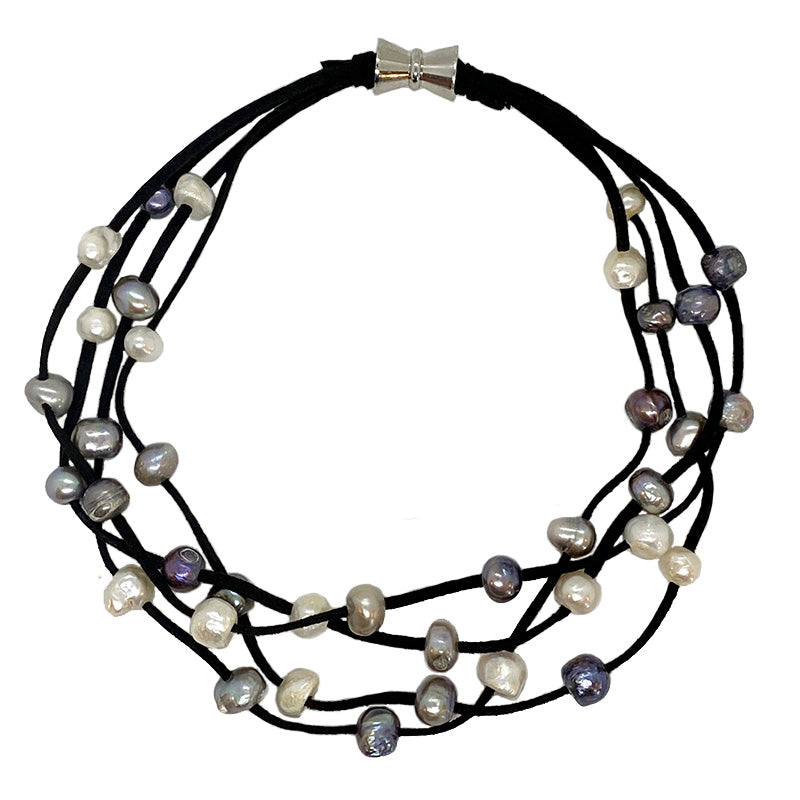 BLACK SUEDE 4-STRAND MULTI PEARL NECKLACE