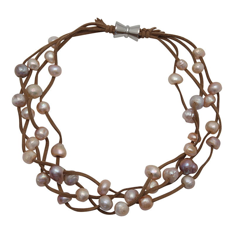 TAN SUEDE 4-STRAND MULTI PEARL NECKLACE