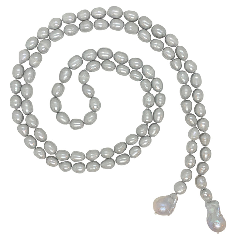 GRAY BAROQUE LARIAT W/ 2 WILD PEARLS