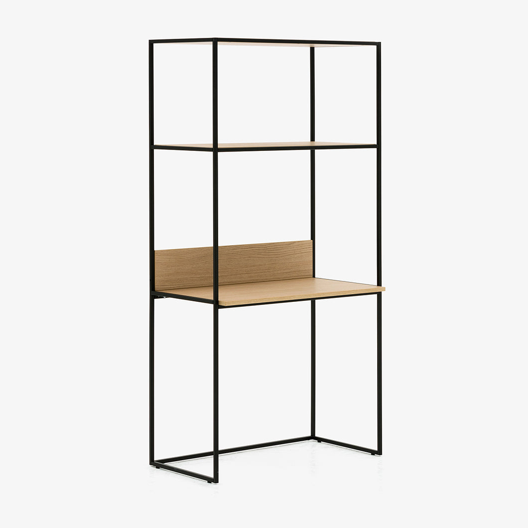 Allermuir Crate desk with upstand and shelving