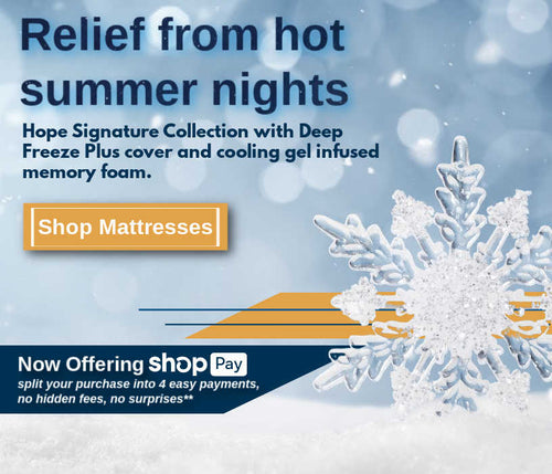<keep you cool all summer long, shop mattresses, feeding america, contribution, donating to help our community, hope mattress, luxury and comfort, memory foam mattress, hybrid mattress, supportive mattress, made in the USA, 120-day trial, free shipping, lifetime warranty>