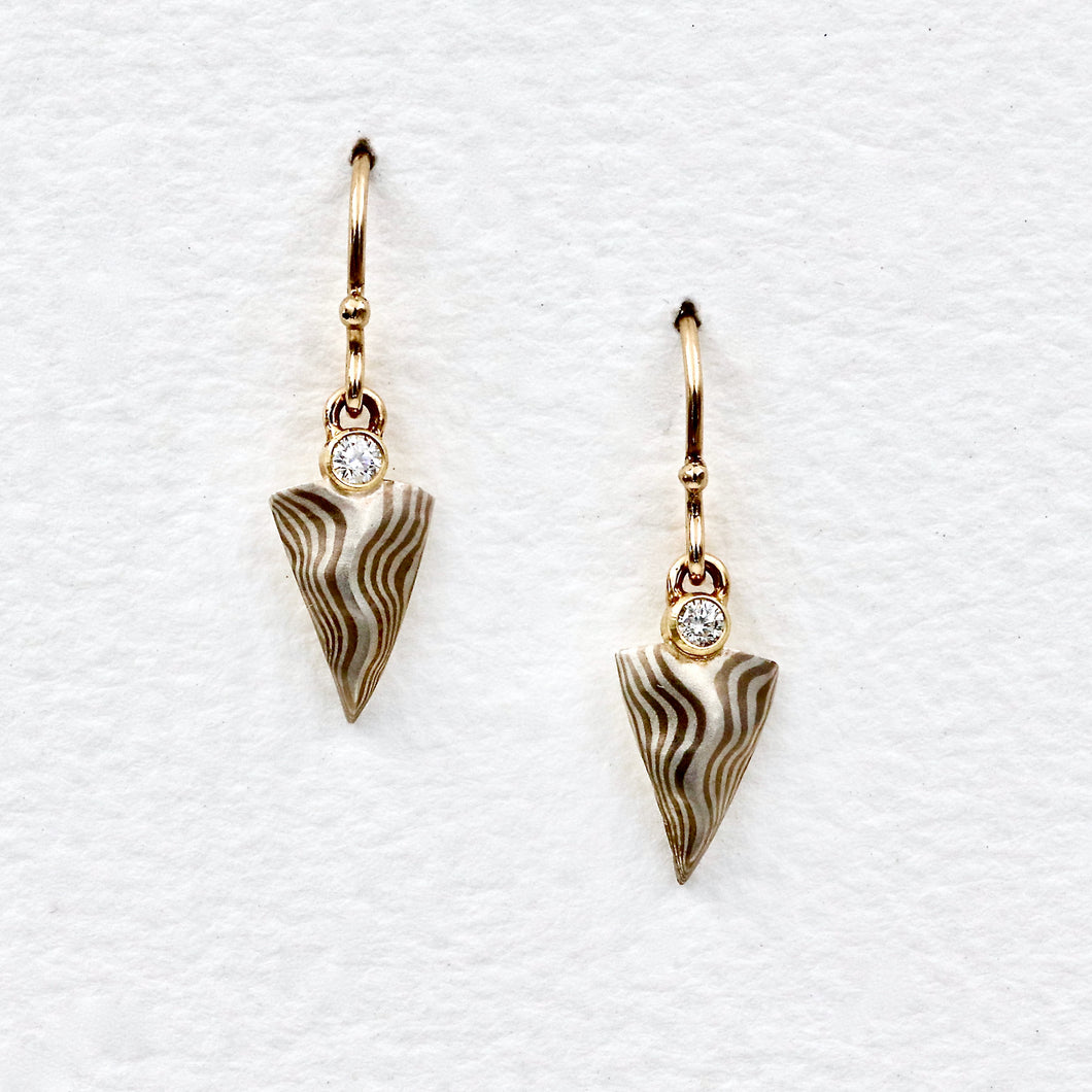 Mokume Gane Arrowhead Earrings