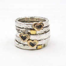 Load image into Gallery viewer, Mini Gold Heart Stackable Ring