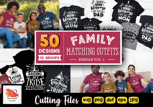 Family Matching Outfits SVG Bundle 50 Designs Vol 1 - LoveMyCuttables.com