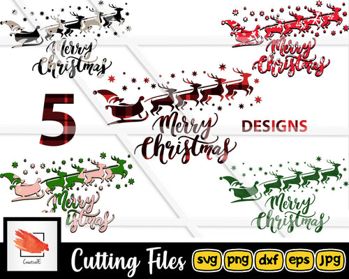 5 Merry Christmas Svg cut file for Cricut | Silhouette Xmas Design Cuttable files - LoveMyCuttables.com