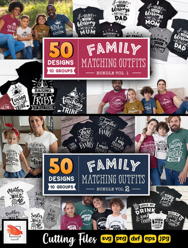 Family Matching Outfits SVG Bundle 100 Designs (Vol 1+2) - LoveMyCuttables.com