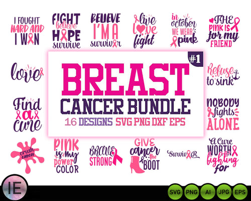 16 Breast Cancer Svg Bundle Cancer awareness svg - LoveMyCuttables.com