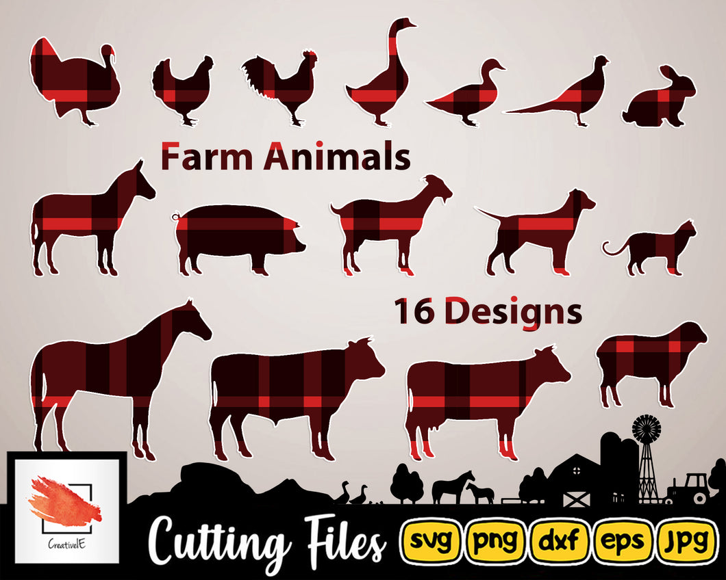 Farm Svg Animals Silhouettes | Svg Bundle Dxf Png | High Quality Files perfect for your next DIY Project - LoveMyCuttables.com