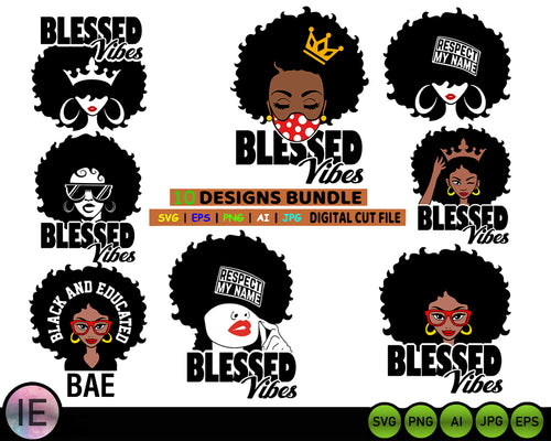 Afro Woman Svg Bundle cut files Afro girl png melanin svg files for cricut | Black girl magic - LoveMyCuttables.com